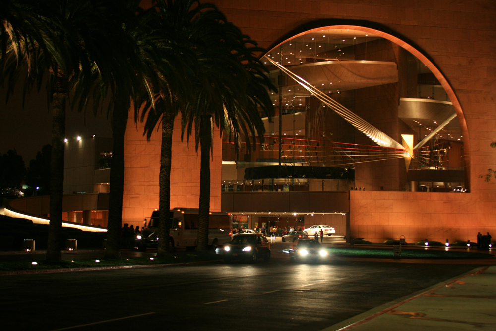 The exterior of our theatre in Costa Mesa, as the evening show crowds clear...