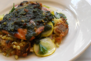 Oregon Salmon with Almond Pesto, Corn Pudding, and Shaved Summer Squash (img: Sean Patrick Doyle)