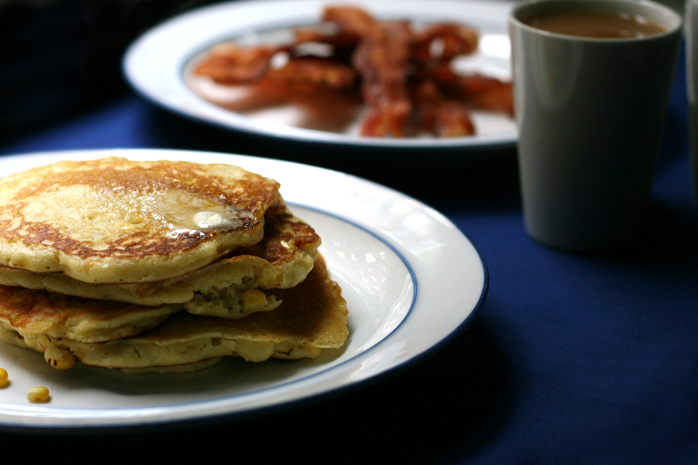 Our breakfast this morning: Fresh Corn Pancakes with Crispy Bacon and French Press Coffee.  (img: Sean Patrick Doyle)